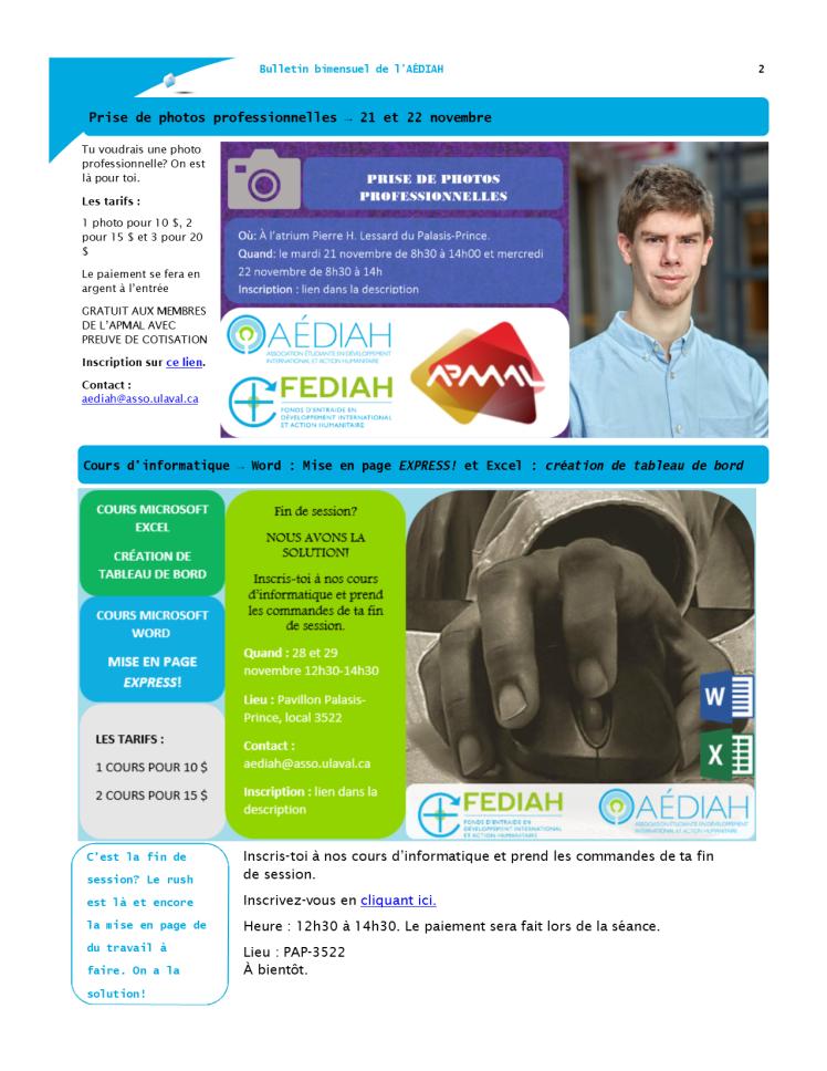 Bulletin bi-mensuel mi-novembre 2