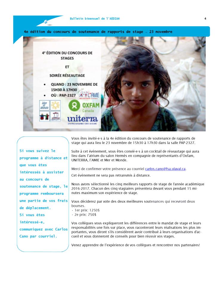 Bulletin bi-mensuel mi-novembre 4